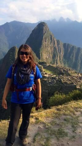 me in front of Machu Picchu wearing Make A Wish t-shirt
